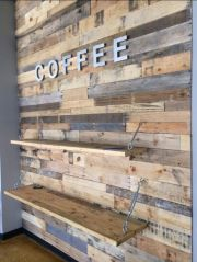 Coffee Shop Pallet wood with Shelves