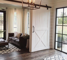 White Barn door with lower Xbrace
